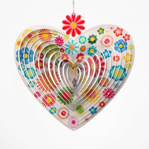 Flowers on silver heart shaped wind spinner