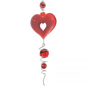 Red heart spiral and wind spinner combo with red ball