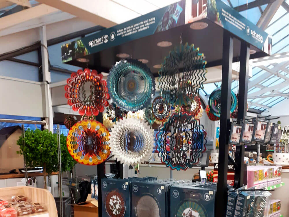 Spin Art trade stand in a retail setting